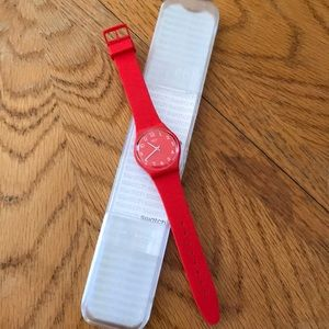 Swatch red silicone watch
